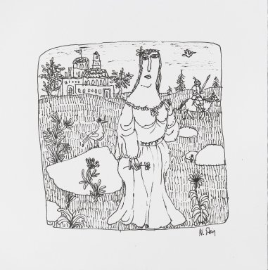 William Steig (American, 1907-2003). [Untitled] (Maiden and Knight). Brooklyn Museum, Gift of Jeanne Steig, 2010.20.93. © Estate of William Steig