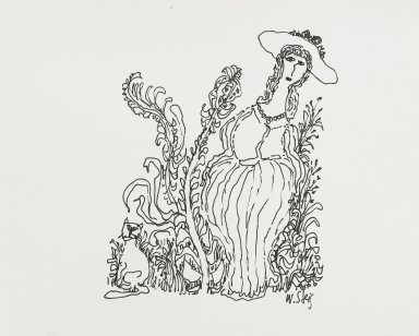 William Steig (American, 1907-2003). [Untitled] (Woman with Plants and Cat). Brooklyn Museum, Gift of Jeanne Steig, 2010.20.94. © Estate of William Steig