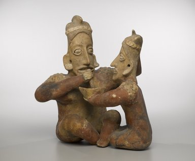 Jalisco. Seated Couple, ca. 100 BC-300 AD. Ceramic, 17 1/2 x 15 1/4 x 10 in. (44.5 x 38.7 x 25.4 cm). Brooklyn Museum, Gift of the Coltrera Collection, 2010.23.1. Creative Commons-BY