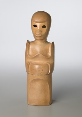 Sargent Claude Johnson (American, 1888-1967). Untitled (Standing Woman), ca. 1933-1935. Terra cotta, painted pale tan, 14 1/4 x 4 x 3 1/2 in. (36.2 x 10.2 x 8.9 cm). Brooklyn Museum, Gift of the Estate of Emil Fuchs and Mr. and Mrs. Sidney Steinhauer, by exchange, Robert B. Woodward Memorial Fund, and Mary Smith Dorward Fund, 2010.2