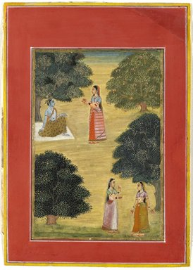 Ruknudin. Krishna and Radha, 1684. Opaque watercolor on paper, Image: 10 5/8 x 7 5/8 in. (27 x 19.3 cm). Brooklyn Museum, Gift of Mr. and Mrs. Robert L. Poster in memory of Dr. Bertram H. Schaffner, 2010.46.5