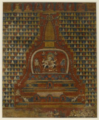 Ushnishavijaya in a Stupa, ca. 1400. Opaque watercolors on cloth, 24 1/2 x 20 1/4 in. (62.2 x 51.4 cm). Brooklyn Museum, Gift of Martha A. and Robert S. Rubin, 2010.47