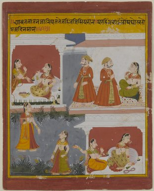 Illustration from a Manuscript of the Bihari Satasai, early 18th century. Opaque watercolor and gold on paper, with frame: 16 x 13 1/2 x 1/2 in. (40.6 x 34.3 x 1.3 cm). Brooklyn Museum, Bequest of Dr. Bertram H. Schaffner, 2010.48.19