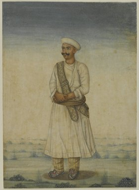 Portrait of a Man, 19th century. Opaque watercolor on paper, with frame: 21 1/4 x 17 1/4 x 1 1/4 in. (54 x 43.8 x 3.2 cm). Brooklyn Museum, Bequest of Dr. Bertram H. Schaffner, 2010.48.60