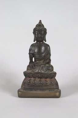 Seated Buddha, 1644-1911. Bronze with traces of pigment, 8 9/16 x 4 3/4 x 3 1/16 in. (21.7 x 12 x 7.8 cm). Brooklyn Museum, Bequest of Dr. Bertram H. Schaffner, 2010.48.64. Creative Commons-BY
