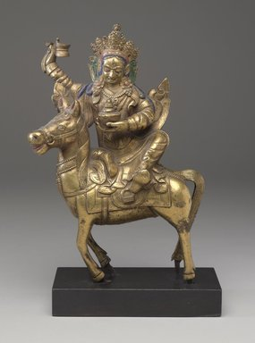 Achi Chokyi Drolma on a Horse, 18th-19th century. Gilt bronze with pigment, 13 3/8 x 6 3/8 x 1 15/16 in. (34 x 16.2 x 5 cm). Brooklyn Museum, Bequest of Dr. Bertram H. Schaffner, 2010.48.8. Creative Commons-BY