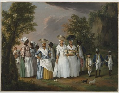 Agostino Brunias (Italian, ca. 1730-1796). Free Women of Color with Their Children and Servants in a Landscape, ca. 1770-1796. Oil on canvas, 20 x 26 1/8 in. (50.8 x 66.4 cm). Brooklyn Museum, Gift of Mrs. Carll H. de Silver in memory of her husband, by exchange and gift of George S. Hellman, by exchange, 2010.59