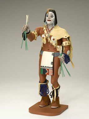 probably Henry Shelton (born 1929). Kachina Doll, 1960-1970. Cottonwood root, acrylic pigment, hide, feathers, fur, yarn, beads, shell, Doll: 16 1/2 x 6 x 7 1/2 in. (41.9 x 15.2 x 19.1 cm). Brooklyn Museum, Gift of Edith and Hershel Samuels, 2010.6.14. Creative Commons-BY