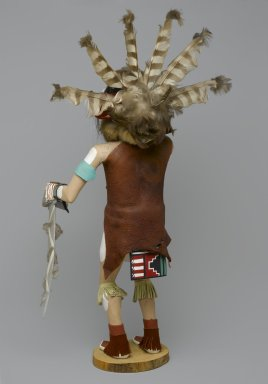 probably Henry Shelton (born 1929). Ogre (Chaveyo) Kachina Doll, 1960-1970. Cottonwood root, acrylic pigment, hide, feathers, fur, horse hair, wood, yarn, 23 x 13 1/2 x 10 in. (58.4 x 34.3 x 25.4 cm). Brooklyn Museum, Gift of Edith and Hershel Samuels, 2010.6.15. Creative Commons-BY