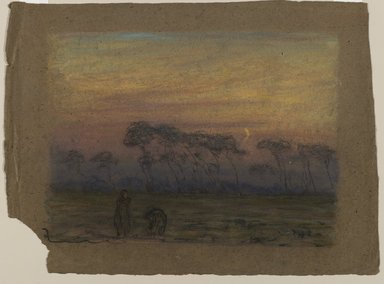 Edward Mitchell Bannister (American, 1828-1901). Untitled, ca. 1885. Pastel on paper, Sight: 7 1/2 x 10 1/2 in. (19.1 x 26.7 cm). Brooklyn Museum, Gift of the Elisha Hawkins Collection of African and African American Art, 2011.1.1