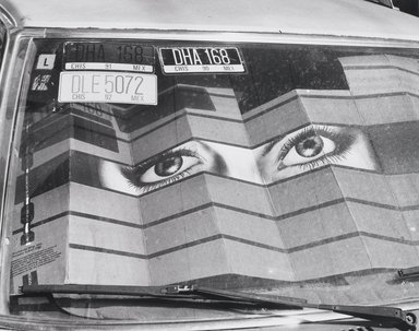 Nathan Lerner (American, 1914-1997). [Untitled] (Eye, Windshield, License Plates), n.d. Gelatin silver photograph, Sheet: 11 x 14 in. (27.9 x 35.6 cm). Brooklyn Museum, Gift of Kiyoko Lerner, 2011.25.29. ©Nathan Lerner
