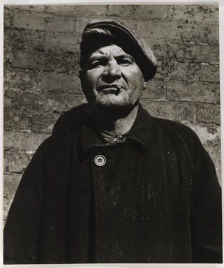 Nathan Lerner (American, 1914-1997). Man with Greasy Coat, 1936, printed 1960's. Gelatin silver photograph, Sheet: 8 1/4 x 7 in. (21 x 17.8 cm). Brooklyn Museum, Gift of Kiyoko Lerner, 2011.25.55. ©Nathan Lerner
