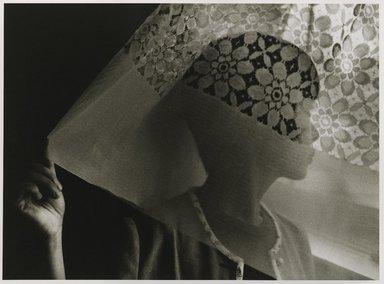 Nathan Lerner (American, 1913-1997). Kiyoko and Curtain, Canada, 1983, printed later. Gelatin silver photograph, Mat: 18 x 22 in. (45.7 x 55.9 cm). Brooklyn Museum, Gift of Kiyoko Lerner, 2011.25.62. ©Nathan Lerner