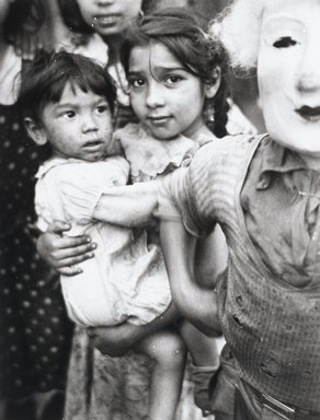 Nathan Lerner (American, 1914-1997). Children and Mask, Chicago 1936, Printed 1983. Selenium-toned print, Sheet: 20 x 16 in. (50.8 x 40.6 cm). Brooklyn Museum, Gift of Kiyoko Lerner, 2011.25.70. ©Nathan Lerner