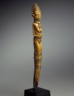 Yoruba. Divination Tapper (Iroke Ifá), 18th century (possibly). Ivory, 13 x 1 1/2 x 1 1/2 in. (33 x 3.8 x 3.8 cm). Brooklyn Museum, Collection of Beatrice Riese, 2011.4.1. Creative Commons-BY
