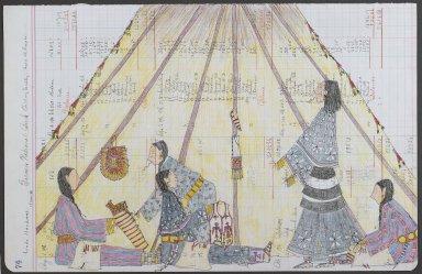 Linda Haukaas (Sicangu Lakota, born 1957). Quilling Society, 2010. Historic ledger paper, ink, colored pencil, 11 1/2 x 17 1/2 in. (29.2 x 44.5 cm). Brooklyn Museum, Gift of the artist, 2011.49. © Linda Haukaas