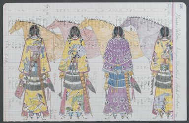 Linda Haukaas (Sicangu Lakota, born 1957). Horse Nation, 8/2010. Colored pencil and ink on late 1916 ledger paper , each sheet: 11 1/2 x 17 5/8 in. (29.2 x 44.7 cm). Brooklyn Museum, Gift of the artist, 2011.6a-b. © Linda Haukaas