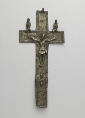 Kongo. Crucifix (Nkangi Kiditu), early 17th century. Copper alloy, 13 1/2 x 6 x 1 in. (34.3 x 15.2 x 2.5 cm). Brooklyn Museum, Gift of Jean C. and Raymond E. Britt Jr. Collection, by exchange