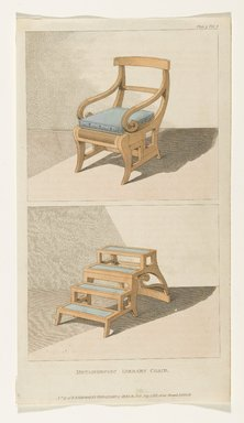"Rudolph Ackermann (British, 1764-1830). ""Metamorphic Library Chair"", from ""Repository of Arts, Literature, Fashions Etc.."" Plate 29 (volume I, July 1811), 1811. Printed paper and watercolor, Other: 9 1/4 x 5 1/8 in. (23.5 x 13 cm). Brooklyn Museum, Gift of H. Blairman & Sons Ltd., 2011.80"