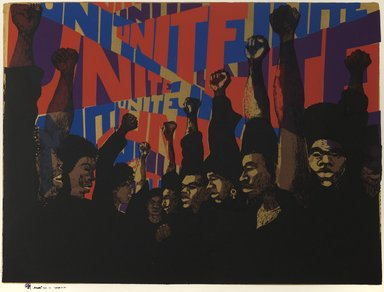 Barbara Jones-Hogu (American, born 1938). Unite, 1971. Screenprint on paper, image: 22 1/2 x 30 in. (57.2 x 76.2 cm). Brooklyn Museum, Dick S. Ramsay Fund, 2012.46. © Barbara Jones-Hogu