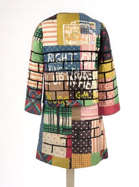 Jae Jarrell (American, born 1935). Urban Wall Suit, ca. 1969. Sewn and painted cotton and silk, two-piece suit, 37 1/2 x 27 1/2 x 1/2 in. (95.3 x 69.9 x 1.3 cm). Brooklyn Museum, Gift of R.M. Atwater, Anna Wolfrom Dove, Alice Fiebiger, Joseph Fiebiger, Belle Campbell Harriss, and Emma L. Hyde, by exchange, Designated Purchase Fund, Mary Smith Dorward Fund, Dick S. Ramsay Fund, and  Carll H. de Silver Fund, 2012.80.16. © Jae Jarrell