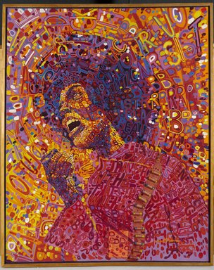 Wadsworth A. Jarrell (American, born 1929). Revolutionary (Angela Davis), 1971. Acrylic and mixed media on canvas, 64 x 51 in. (162.6 x 129.5 cm). Brooklyn Museum, Gift of R.M. Atwater, Anna Wolfrom Dove, Alice Fiebiger, Joseph Fiebiger, Belle Campbell Harriss, and Emma L. Hyde, by exchange, Designated Purchase Fund, Mary Smith Dorward Fund, Dick S. Ramsay Fund, and  Carll H. de Silver Fund, 2012.80.18. © Wadsworth Jarrell