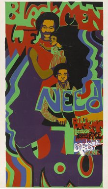Barbara Jones-Hogu (American, born 1938). Black Men We Need You, ca. 1971. Screenprint on paper, Sheet: 38 x 20 in. (96.5 x 50.8 cm). Brooklyn Museum, Gift of R.M. Atwater, Anna Wolfrom Dove, Alice Fiebiger, Joseph Fiebiger, Belle Campbell Harriss, and Emma L. Hyde, by exchange, Designated Purchase Fund, Mary Smith Dorward Fund, Dick S. Ramsay Fund, and  Carll H. de Silver Fund, 2012.80.23. © Barbara Jones-Hogu
