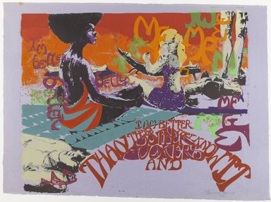 Barbara Jones-Hogu (American, born 1938). I'm Better Than These Motherfuckers, ca. 1970. Screenprint on colored paper, Sheet: 20 x 30 in. (50.8 x 76.2 cm). Brooklyn Museum, Gift of R.M. Atwater, Anna Wolfrom Dove, Alice Fiebiger, Joseph Fiebiger, Belle Campbell Harriss, and Emma L. Hyde, by exchange, Designated Purchase Fund, Mary Smith Dorward Fund, Dick S. Ramsay Fund, and  Carll H. de Silver Fund, 2012.80.24. © Barbara Jones-Hogu