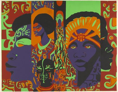 Barbara Jones-Hogu (American, born 1938). Relate to Your Heritage, 1971. Screenprint on paper, sheet: 34 x 43 in. (86.4 x 109.2 cm). Brooklyn Museum, Gift of R.M. Atwater, Anna Wolfrom Dove, Alice Fiebiger, Joseph Fiebiger, Belle Campbell Harriss, and Emma L. Hyde, by exchange, Designated Purchase Fund, Mary Smith Dorward Fund, Dick S. Ramsay Fund, and  Carll H. de Silver Fund, 2012.80.26. © Barbara Jones-Hogu