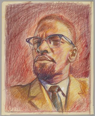"""Alfred """"Al"""" Tyler (American, 1933-2010). Malcolm X, ca. 1975. Crayon on paper, Sheet: 14 x 11 in. (35.6 x 27.9 cm). Brooklyn Museum, Gift of R.M. Atwater, Anna Wolfrom Dove, Alice Fiebiger, Joseph Fiebiger, Belle Campbell Harriss, and Emma L. Hyde, by exchange, Designated Purchase Fund, Mary Smith Dorward Fund, Dick S. Ramsay Fund, and  Carll H. de Silver Fund, 2012.80.43. © Alfred """"Al"""" Tyler"""