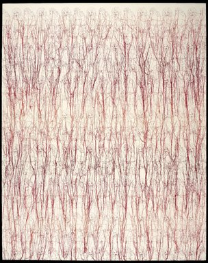 Ghada Amer (American, born Egypt, 1963). Heather's Dégradé, 2006. Embroidery and gel medium on canvas, 78 x 62 x 1 1/2 in. (198.1 x 157.5 x 3.8 cm). Brooklyn Museum, Frank L. Babbott Fund, Mary Smith Dorward Fund, William K. Jacobs, Jr. Fund, and Florence B. and Carl L. Selden Fund, 2013.50.1. © Ghada Amer