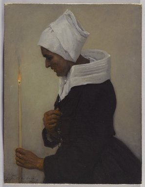 Jules Breton (French, 1827-1906). Breton Peasant Woman Holding a Taper, ca. 1869. Oil on canvas, 12 x 9 in.  (30.5 x 22.9 cm). Brooklyn Museum, Bequest of William H. Herriman, 21.102