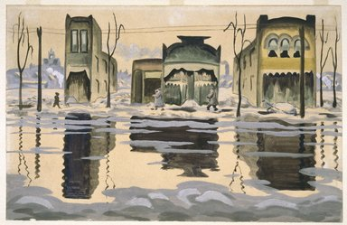 Charles Burchfield (American, 1893-1967). February Thaw, 1920. Watercolor, 17 15/16 x 27 15/16 in. (45.6 x 71 cm). Brooklyn Museum, John B. Woodward Memorial Fund, 21.104. © Estate of Charles Burchfield