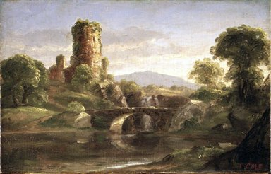 Thomas Cole (American, 1801-1848). Ruined Castle and River, ca. 1832. Oil on canvas, 7 15/16 x 12 1/2 in. (20.2 x 31.7 cm). Brooklyn Museum, Bequest of Samuel E. Haslett, 21.107