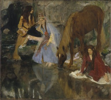 "Edgar Degas (French, 1834-1917). Portrait of Mlle Fiocre in the Ballet ""La Source"" (Portrait de Mlle...E[ugénie] F[iocre]: à propos du ballet ""La Source""), ca. 1867-1868. Oil on canvas, 51 1/2 x 57 1/8 in., 166 lb. (130.8 x 145.1 cm, 75.3kg). Brooklyn Museum, Gift of James H. Post, A. Augustus Healy, and John T. Underwood, 21.111"