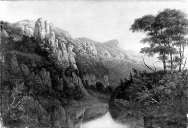 J. Hall (possibly James D. Hall) (American, active ca. 1850). Mountain Landscape, 1853. Oil on canvas, 19 13/16 x 29 1/8 in. (50.4 x 74 cm). Brooklyn Museum, Bequest of Samuel E. Haslett, 21.118