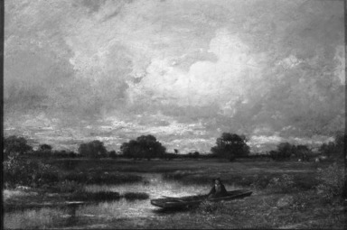 Jules Dupré (French, 1811-1889). On the Marsh, 1850. Oil on canvas mounted on masonite, 15 3/4 x 23 1/4 in.  (40.0 x 59.1 cm). Brooklyn Museum, Bequest of William H. Herriman, 21.120