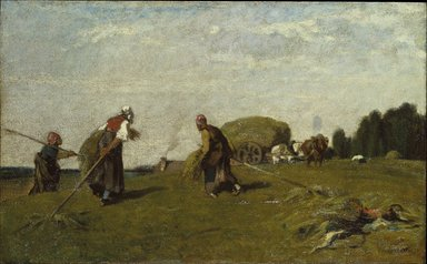 Eugène Fromentin (French, 1820-1876). The Reapers, 1851. Oil on cradled panel, 12 3/8 x 19 15/16 in. (31.4 x 50.6 cm). Brooklyn Museum, Bequest of William H. Herriman, 21.124