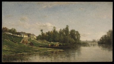 Charles-François Daubigny (French, 1817-1878). River Scene, 1859. Oil on panel, 14 1/4 x 25 3/4 in. (36.2 x 65.4 cm). Brooklyn Museum, Bequest of William H. Herriman, 21.134