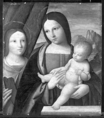 Niccolò Pisano (Italian, Pisan and Ferrarese Schools, documented 1470-ca. 1538). Madonna and Child with Saint Catherine of Alexandria, 1510-1515. Tempera and oil on panel, 17 x 14 7/8 in. (43.2 x 37.8 cm). Brooklyn Museum, Bequest of A. Augustus Healy, 21.139