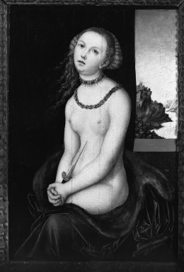 Lucas Cranach the Elder, and Workshop (German, 1472-1553). Lucretia, 1526-1537. Oil on panel mounted on canvas fixed to masonite, 23 x 15 3/4 in. (58.4 x 40 cm). Brooklyn Museum, Bequest of A. Augustus Healy, 21.142