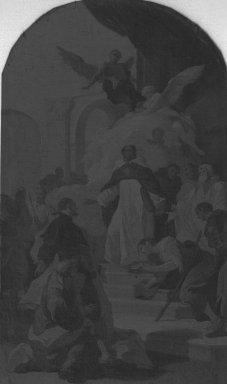 Mattia Bortoloni (Italian, Venetian School, 1696-1750). The Miracle of Saint Thomas Aquinas (Miracolo di San Tommaso d'Aquino), 1735. Oil on canvas, 16 7/8 x 9 7/8 in. (42.9 x 25.1 cm). Brooklyn Museum, Bequest of A. Augustus Healy, 21.145