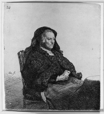 Rembrandt Harmensz. van Rijn (Dutch, 1606-1669). Rembrandt's Mother, ca. 1631. Etching on laid paper, 5 5/8 x 5 1/16 in. (14.3 x 12.9 cm). Brooklyn Museum, Gift of Samuel P. Avery, 21.238