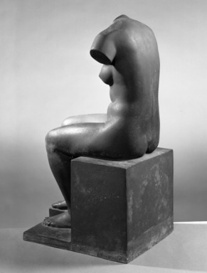 Jane Poupelet (French, 1878-1932). Figure of a Seated Woman, 20th century. Bronze, 22 13/16 x 10 1/16 x 12 3/16 in. (58 x 25.5 x 31 cm). Brooklyn Museum, Ella C. Woodward Memorial Fund, 21.245. Creative Commons-BY