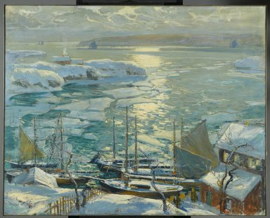 Jonas Lie (American, 1880-1940). The Old Ships Draw to Home Again, 1920. Oil on canvas, 40 x 50 in. (101.6 x 127 cm). Brooklyn Museum, Gift of Mrs. Martin Joost, 21.24