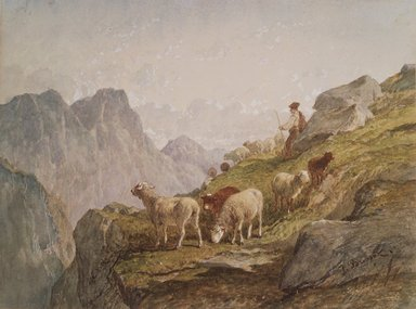 Félix-Saturnin Brissot de Warville (French, 1818-1892). Shepherd and Flock in the Mountains, early 1870s. Watercolor on wove paper, 7 5/8 x 10 1/8 in. (19.4 x 25.7 cm). Brooklyn Museum, Bequest of William H. Herriman, 21.276