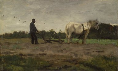 Anton Mauve (Dutch, 1838-1888). Plowing, ca. 1885. Oil on panel, 15 x 24 5/8 in.  (38.1 x 62.5 cm). Brooklyn Museum, Bequest of A. Augustus Healy, 21.29