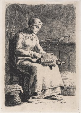 Jean-François Millet (French, 1814-1875). Woman Carding Wool (La Cardeuse), 1855-1856. Etching on old laid paper, 10 1/8 x 6 3/4 in. (25.7 x 17.2 cm). Brooklyn Museum, Bequest of Samuel P. Avery, Jr., 21.311