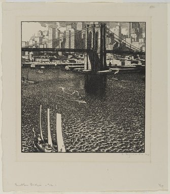 Rudolph Ruzicka (American, born Bohemia, 1883-1978). Brooklyn Bridge, ca. 1915. Woodcut on paper, 7 3/8 x 6 15/16 in. (18.8 x 17.6 cm). Brooklyn Museum, Gift of the artist, 21.317
