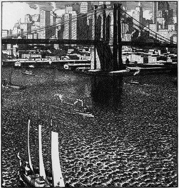 Rudolph Ruzicka (American, born Bohemia, 1883-1978). Brooklyn Bridge, ca. 1915. Woodcut on paper, 7 3/8 x 6 15/16 in. (18.8 x 17.6 cm). Brooklyn Museum, Gift of the artist, 21.317